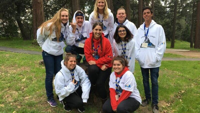 Breanna Sewell, center, and high school juniors from Riverside County at a Rotary Youth Leadership Awakening camp near Lake Arrowhead.