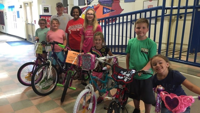 UMWA Local 1740 donated six bicycles to Uniontown Elementary School, one for a student from each grade with perfect atttendance. The bikes were awarded to Ashlyn Feazell, Nate Bealmear, Mylie Hogan, Briley Henshaw, Raeleigh Coker, and Leah Hunley.