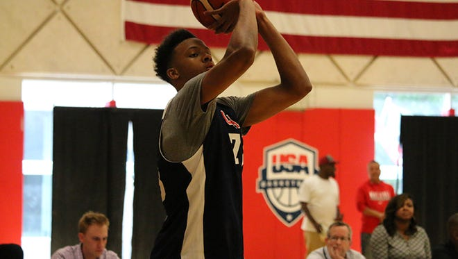 New Albany senior guard Romeo Langford shoots during practice at USA training camp on Monday, June 20, 2017.