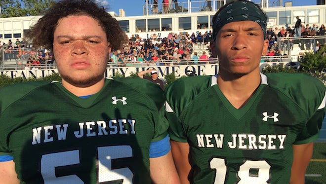 Montclair's Brandon Doggett (left) and Ivan McDaniel represented the Mounties in the Phil Simms New Jersey North-South All-Star Classic.