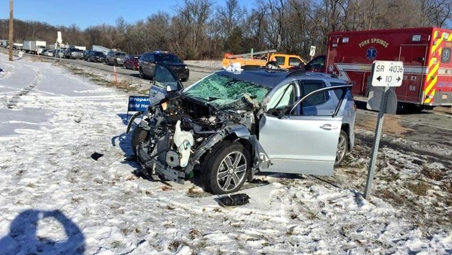 Scene of car vs tractor trailer crash on Route 15 in Franklin Township, York County on Jan. 18.
