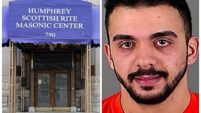 Samy Mohamed Hamzeh (right) is accused of plotting a mass shooting inside the Humphrey Scottish Rite Masonic Center in Milwaukee.