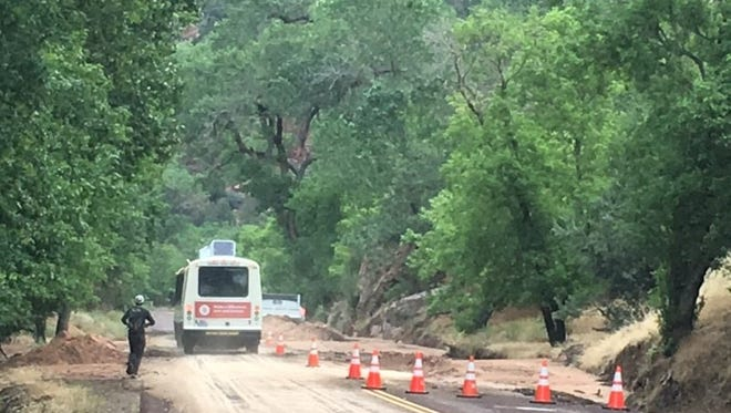 Mudslides in Zion National Park on July 11, 2018, forced the closure of some roadways and trails the next day, including this section of the Zion Scenic Drive.