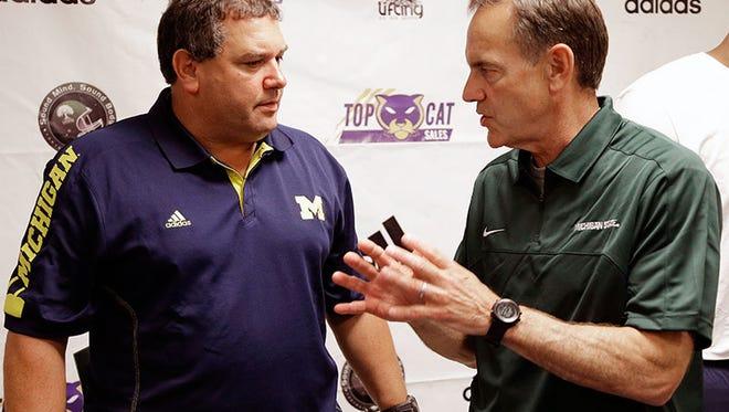 Michigan coach Brady Hoke and Michigan State coach Mark Dantonio.
