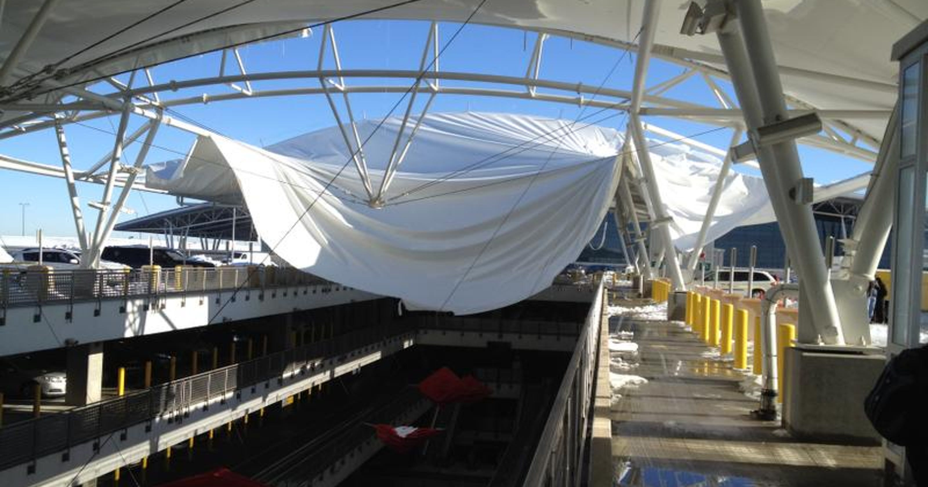 Snow Ice Shred Indianapolis Airport Garage Canopy
