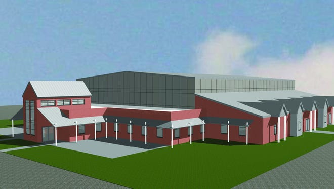 An exterior rendering shows a multimillion-dollar sport and multipurpose facility to be built in Lonsdale as part of a project by the Emerald Youth Foundation, the city and county.