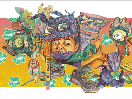 The artwork for the mural by Risa Tochigi, aka Boogie,