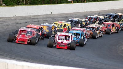 NASCAR Whelen Tour Modifieds are the most popular race cars on Thompson Speedway's 5/8 mile oval. (Credit: NASCAR Home Tracks photo.)