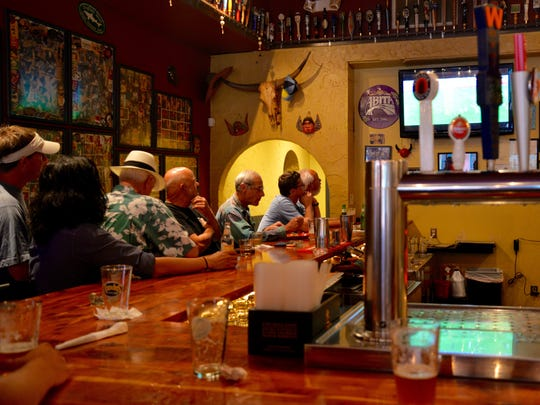 Patrons gather to watch the Women's World Cup Finals at Baja Bean in Staunton on Sunday, July 5, 2015.