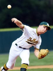 Gallatin High senior James Rockwell delivers a first-inning pitch. Rockwell pitched a complete game on Tuesday evening, allowing five hits and four base on balls while striking out 11 hitters.