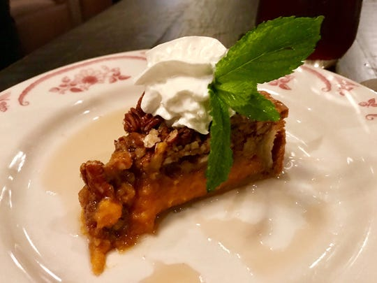 Sweet potato pecan pie at The Saloon, a wood-fired grill that opened Dec. 15 at Coconut Point mall in Estero.