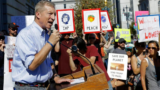 In this Oct. 24, 2017 file photo, Tom Steyer speaks at a rally calling for the impeachment of President Donald Trump in San Francisco.