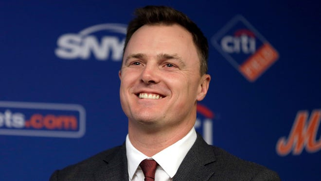 New York Mets' Jay Bruce speaks at a baseball news conference at Citi Field in New York, Wednesday, Jan. 17, 2018. Bruce and the Mets have finalized a $39 million, three-year deal to bring his big bat back to Queens.