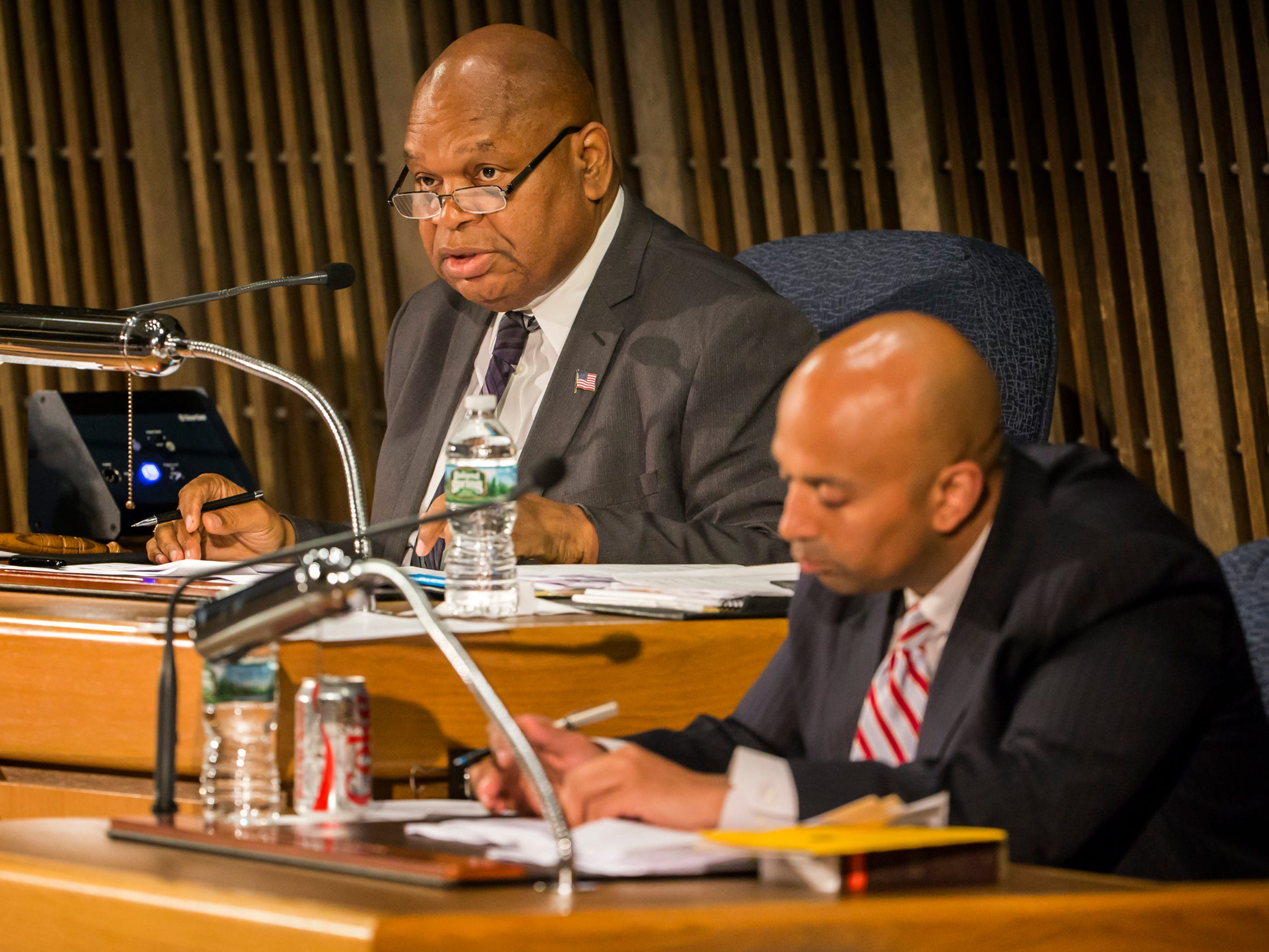 City Council President Theo Gregory speaks as members of the Wilmington City Council meet at the Louis L. Redding City/County Building in Wilmington on Thursday night.