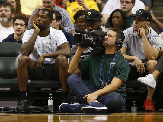 Indiana Pacers guard Rodney Stuckey watches the game