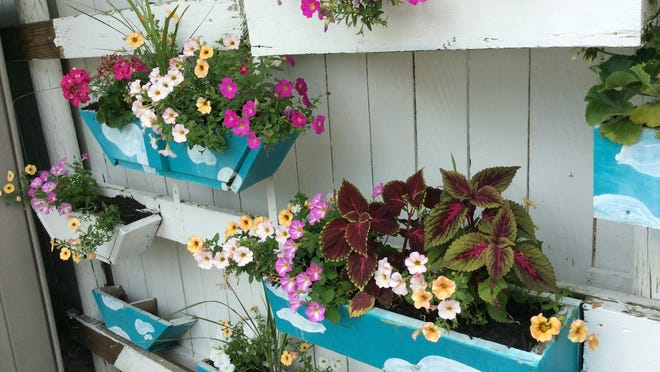 Several decorative flower boxes line the outdoor fence of Ivonne Cruz's East Maumee Street home, Adrian. Cruz has been named the July recipient of the Garden of the Month Award as selected by the Adrian Women's Garden Club.