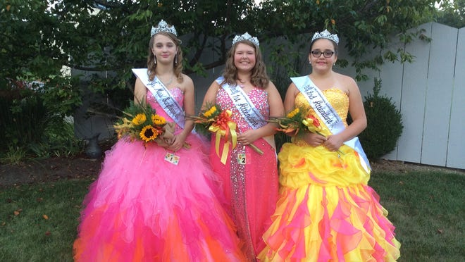 Taking the Jr. Miss Sunflower crown was Miracle Newland, left. Her court includes first attendant Tiffany Blount, center, and second attendant Leah Beery.
