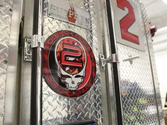 A Grateful Dead logo, on the Harry Howard Hook & Ladder