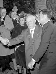 Soviet Premier Nikita Khrushchev meets with President