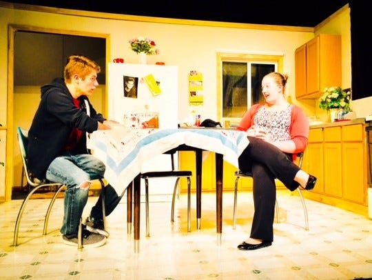 """Joey Wiedmeyer as """"Jimmy,"""" left, and Sarah Lally as"""