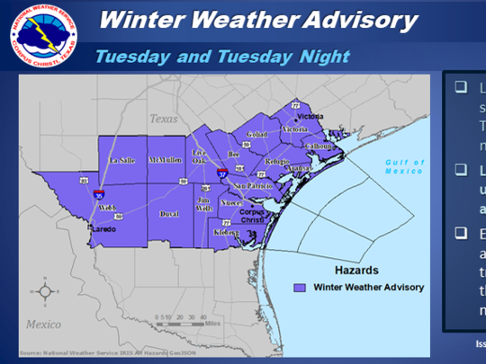 A winter weather advisory has been issued by the National Weather Service for parts of the Coastal Bend that will run from Tuesday morning to early Wednesday.