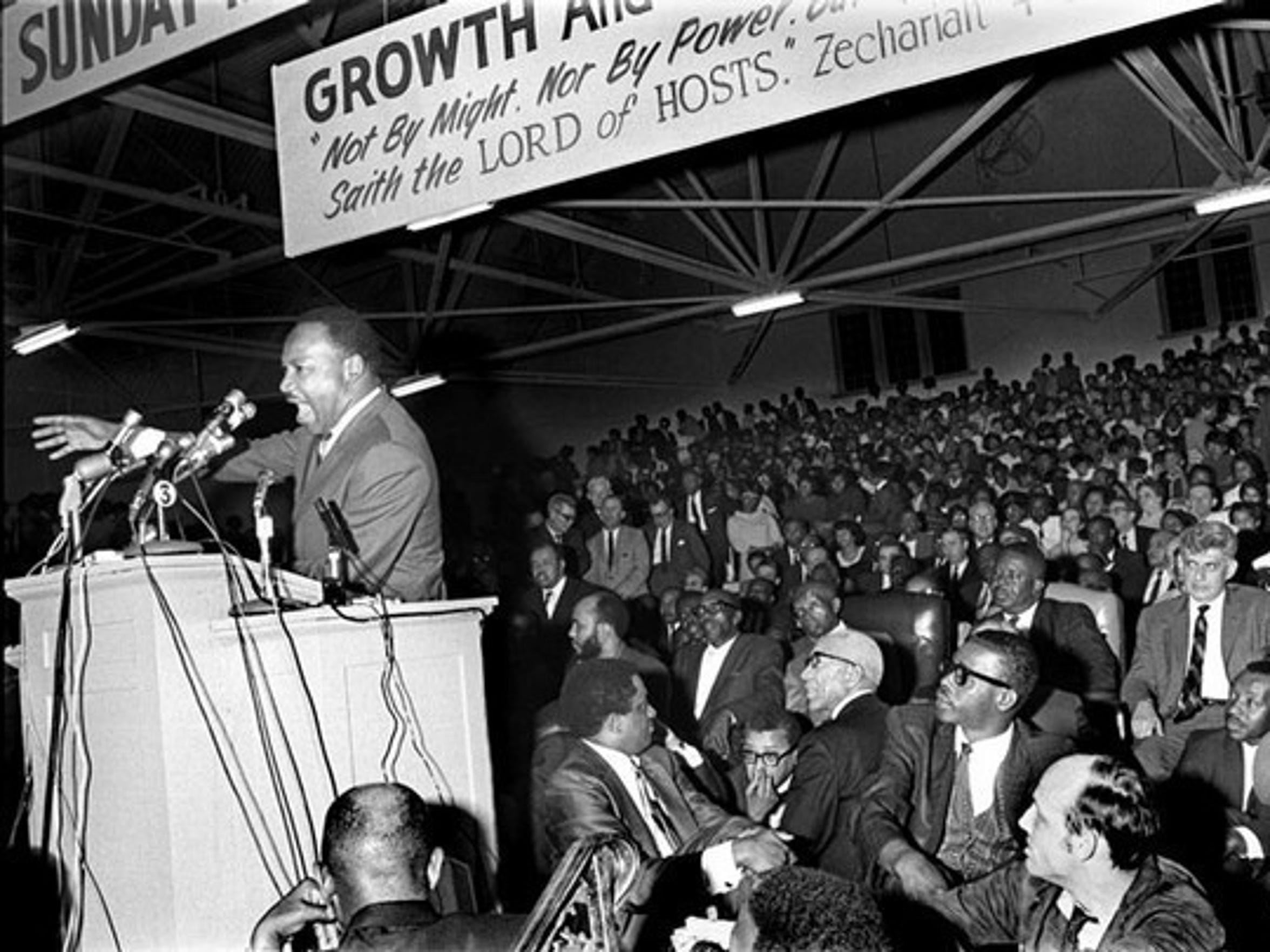Dr. Martin Luther King Jr. at Mason Temple in Memphis on March 18, 1968.