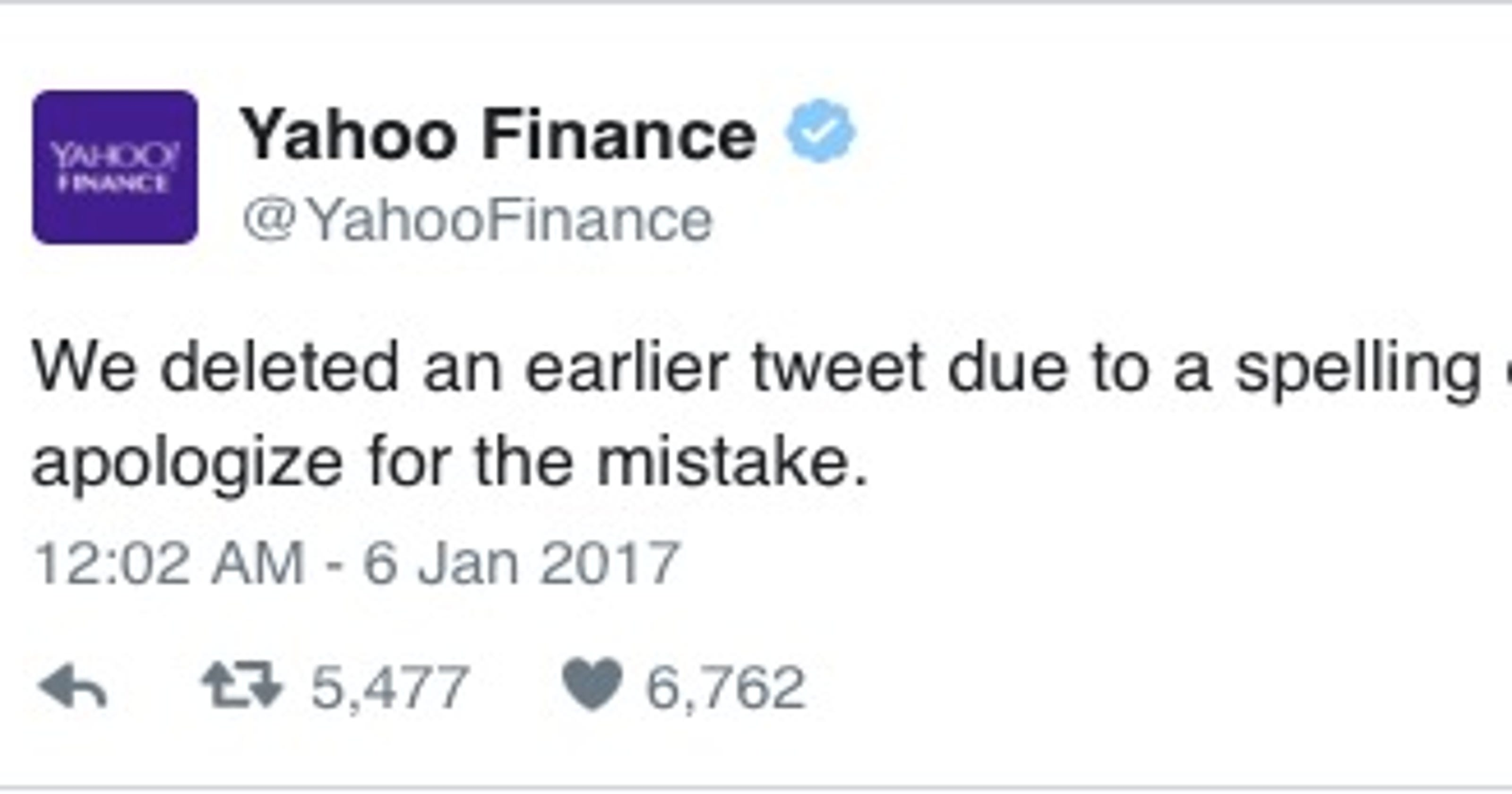 Yahoo Finance Tweets Out The Worst Typo