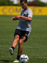 Philadelphia Union Academy player Anthony Fontana warms