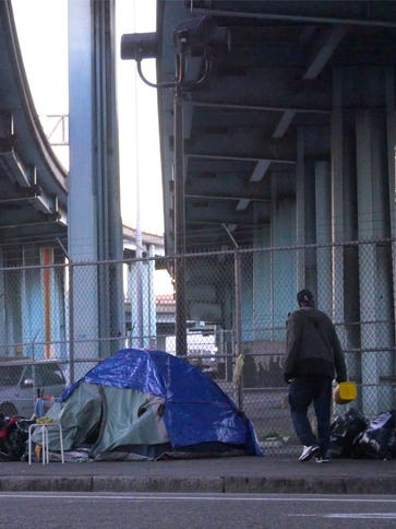 A homeless encampment at the base of Potrero Hill in