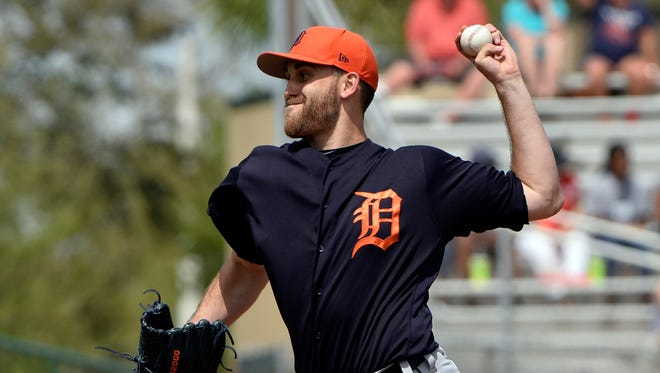 Tigers starting pitcher Matt Boyd throws against the Marlins during a spring training game at Roger Dean Stadium on March 14, 2017.