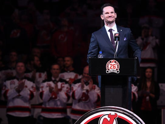 Patrik Elias during his jersey retirement ceremony