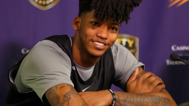 Suns' Elfrid Payton speaks to the press at his introductory press conference at the Talking Stick Resort Arena on February 10, 2018 in Phoenix, Ariz.