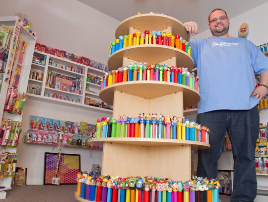 Some of Jim Blaine's 17,000 Pez dispensers and related