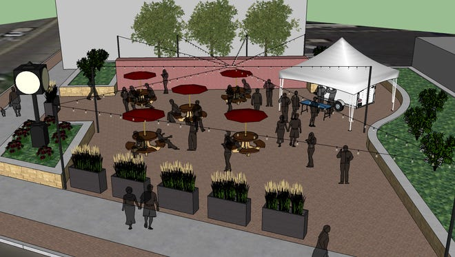 Menomonee Falls' first downtown beer garden is set to open Friday, Sept. 15, in Centennial Plaza at Appleton Avenue and Main Street.