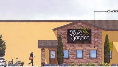 A rendering of the proposed Olive Garden restaurant to be built at Oakley Station.