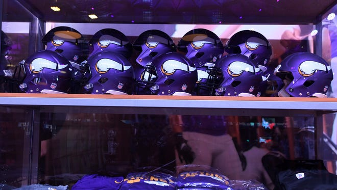 Minnesota Vikings helmets and equipment at the Super Bowl LII Experience at the Minneapolis Convention Center.