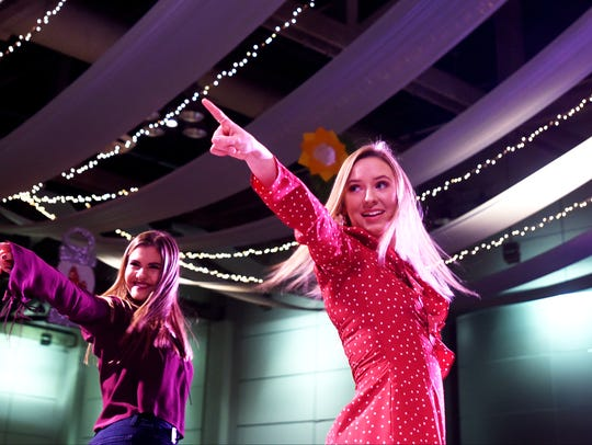 Gia Szczepanski and Sarah Stough  were among seniors showing the latest fashions in a spectacular production at the Loyola College Prep Style Show and Luncheon.