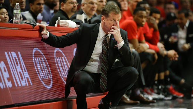 Portland Trail Blazers head coach Terry Stotts watches action in the second half in Game 1 of a first-round NBA basketball playoff series against the Los Angeles Clippers, Sunday, April 17, 2016, in Los Angeles. The Clippers won 115-95.