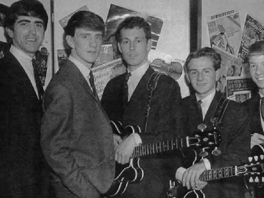 Mike Berry, second from left, early in his singing