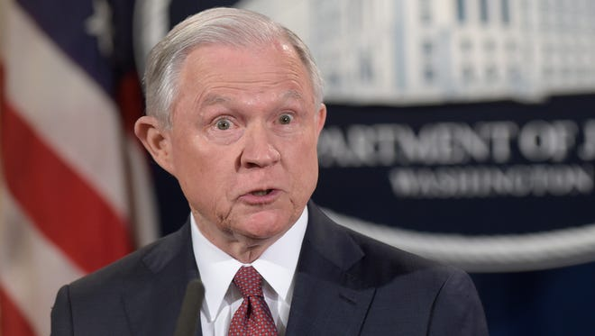 Attorney General Jeff Sessions makes a statement on DACA at the Justice Department on Sept. 5, 2017.