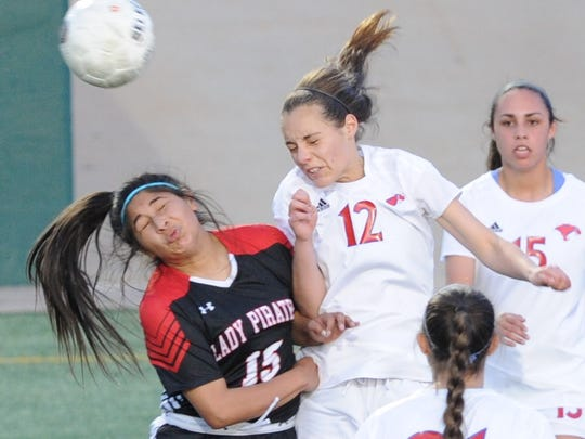 Abilene Cooper's Jenna Morris (12) battles Lubbock Cooper's Dakota Moreno (15) for the ball. The Lady Coogs beat Lubbock Cooper 2-1 in the District 4-5A soccer game Tuesday, March 6, 2018 at Shotwell Stadium.