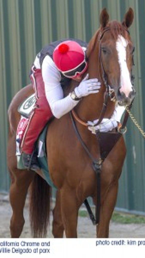 California Chrome and Willie Delgado. Parx Racing photo