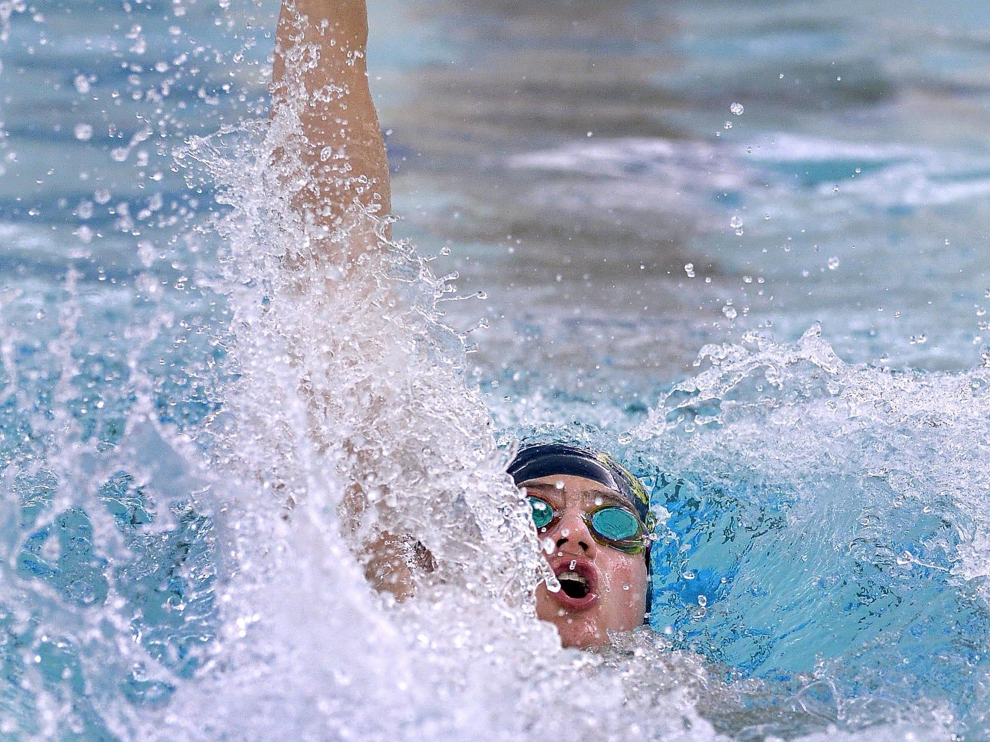 Spencerport's Jared Kettinger swims the 100-yard backstroke.