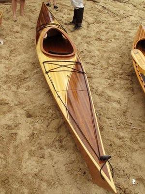 One of Dan Thaler's handcrafter wood kayaks.