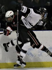 Plymouth's Graham Sheehan (right) and Canton's Brett