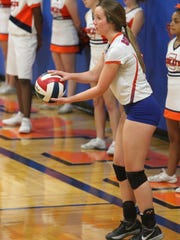 Central High School's Megan Scott made her final home appearance in a District 2-6A match against Odessa High at Babe Didrikson Gym on Tuesday, Oct. 24, 2017.