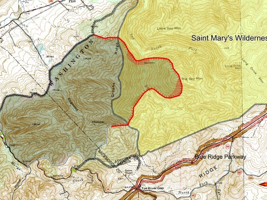 U.S. Forest Service Map of Tye River fire area as of