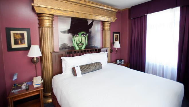 The Wicked Suite at the Serrano Hotel, San Francisco: The Serrano has a fun-and-games theme and free happy hours, but those looking for a truly wicked good time should consider the hotel's Wicked Suite, dedicated to the famous musical. A giant rendering of the witch Elphaba over the bed may be a little creepy to some.