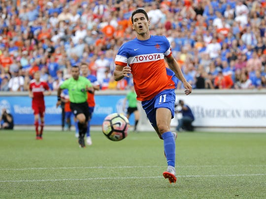 FC Cincinnati striker Danni Konig (11) reacts after a ball is over played in the penalty box in the first half during the Lamar Hunt US Open Cup match between the Chicago Fire and FC Cincinnati on June 28, 2017 at Nippert Stadium.