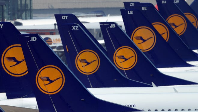 In this file photo from April 22, 2013, Lufthansa planes are seen at the airport in Duesseldorf.